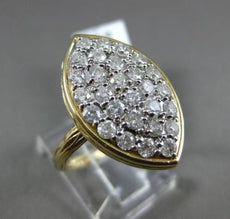 ESTATE LARGE 1.5CT DIAMOND 14K 2 TONE GOLD PAVE MARQUISE HAMMER DESIGN LOVE RING