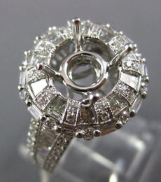 ESTATE LARGE 1.62CT DIAMOND 14KT WHITE GOLD FLOWER SEMI MOUNT ENGAGEMENT RING
