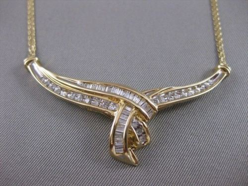 "ANTIQUE 1.15CTW DIAMOND 14KT YELLOW GOLD TWIST NECKLACE 17"" INCH GH VS/SI #21580"