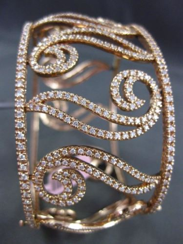 ESTATE WIDE 5.30CT DIAMOND 14KT ROSE GOLD 3D FILIGREE MULTI LEAF BANGLE BRACELET