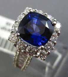 LARGE 2.23CT ROUND & BAGUETTE DIAMOND & SAPPHIRE 18KT WHITE GOLD ENGAGEMENT RING