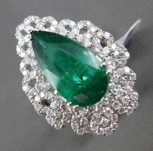 ANTIQUE LARGE 7.72CT DIAMOND & EMERALD 18K WHITE GOLD PEAR SHAPE ENGAGEMENT RING