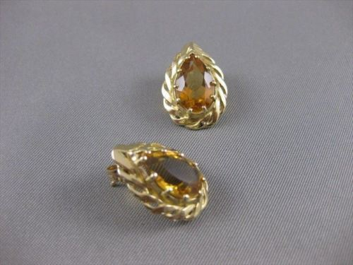 LARGE ANTIQUE PEAR CITRINE 14K YELLOW GOLD FILIGREE POST PUSHBACK EARRINGS 20X14