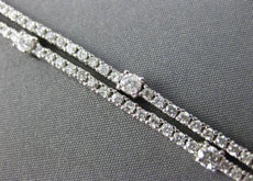 ESTATE WIDE 3.35CT DIAMOND 14KT WHITE GOLD 3D BY THE YARD 2 ROW TENNIS BRACELET