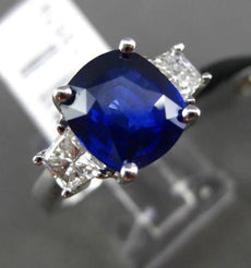 ESTATE LARGE 4.53CT DIAMOND GIA SAPPHIRE 18KT WHITE GOLD 3 STONE ENGAGEMENT RING