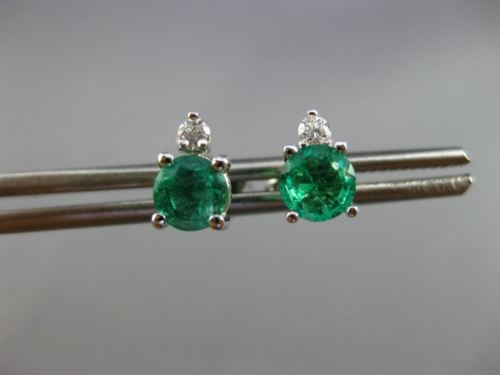 ESTATE 1.21CT DIAMOND & COLOMBIAN EMERALD 14KT WHITE GOLD 3D STUD EARRING #25455