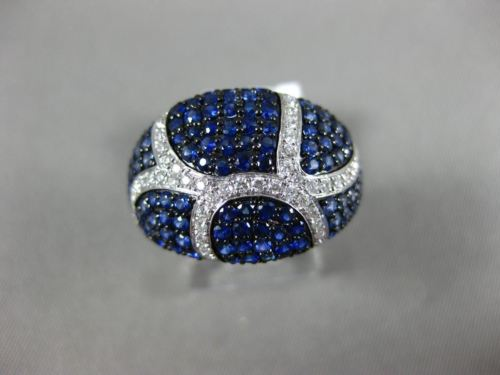 ESTATE WIDE 2.43CT DIAMOND & AAA SAPPHIRE 14K WHITE GOLD MULTI ROW PAVE FUN RING