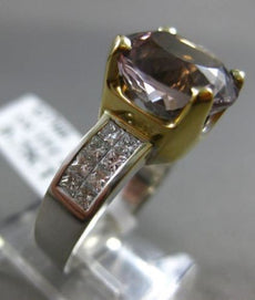 ESTATE 4.95CT DIAMOND & AAA SMOKEY QUARTZ 14K 2 TONE GOLD ENGAGEMENT RING #2280