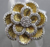 ANTIQUE MASSIVE 1.0CT DIAMOND 14KT YELLOW GOLD 3D FLOWER FUN COCKTAIL RING