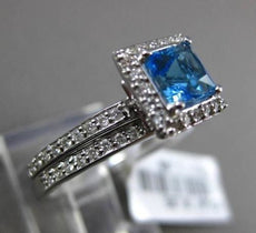 ESTATE 1.35CTW DIAMOND & AAA BLUE TOPAZ 14KT WHITE GOLD SQUARE ENGAGEMENT RING