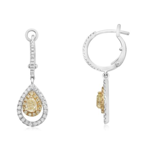 1.36CT WHITE & FANCY YELLOW DIAMOND 18KT 2 TONE GOLD LEVERBACK HANGING EARRINGS
