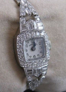 ANTIQUE 3CTW OLD EURO MINE CUT DIAMOND PLATINUM HAMILTON WATCH #2071