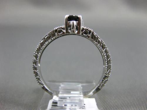 .86CT DIAMOND & AAA PEAR SHAPE SAPPHIRE 14KT WHITE GOLD 3D FILIGREE ENGAGEMENT