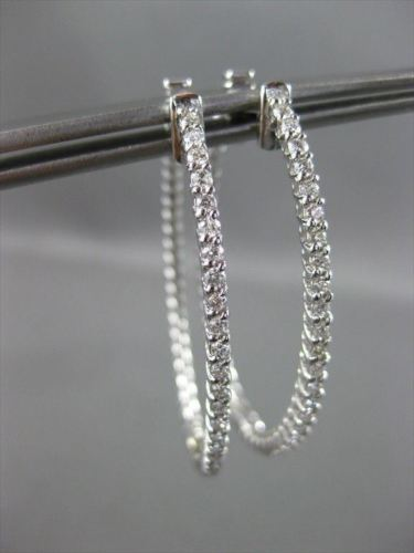 ESTATE LARGE .68CT DIAMOND 14KT WHITE GOLD 3D DOUBLE SIDED HOOP EARRINGS #19695