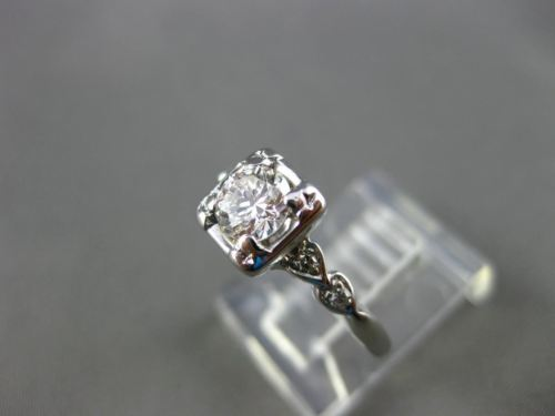 ANTIQUE .46CT OLD MINE DIAMOND 14KT W GOLD HEART FISHTAIL ENGAGEMENT RING #22078