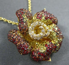 LARGE 3.49CT DIAMOND & AAAA MULTI COLOR SAPPHIRE 18KT YELLOW GOLD FLOWER PENDANT