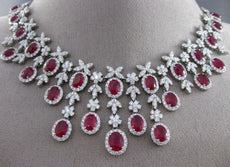 ESTATE EXTRA LARGE CERTIFIED 43.78CT DIAMOND & RUBY 18KT WHITE GOLD NECKLACE E/F