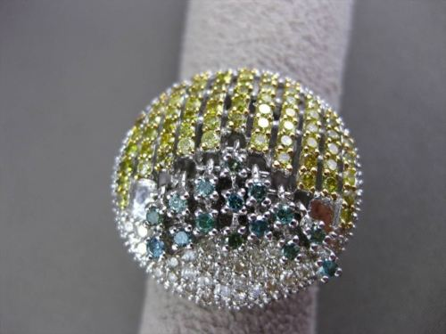 ANTIQUE MASSIVE 3.52CTW DIAMOND & ALEXANDRITE 14KT WHITE GOLD 3D FLOATING RING
