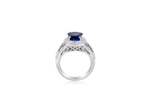 LARGE 5.1CT DIAMOND & AAA TANZANITE 14K WHITE GOLD OPEN FILIGREE ENGAGEMENT RING