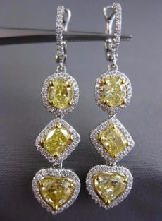 LARGE 4.02CT WHITE & FANCY YELLOW DIAMOND 18K 2 TONE GOLD HEART HANGING EARRINGS