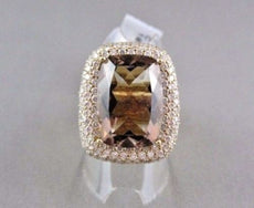 WIDE 18KT GOLD YELLOW 13.23CT SMOKEY TOPAZ & DIAMOND RECTANGULAR COCKTAIL RING