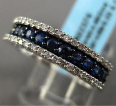 ESTATE .86CT DIAMOND & SAPPHIRE 14KT WHITE GOLD 3 ROW WEDDING ANNIVERSARY RING