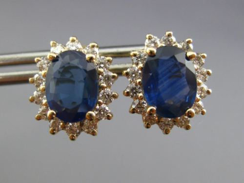LARGE 3.33CT DIAMOND & SAPPHIRE 14K YELLOW GOLD OVAL FLOWER STUD EARRINGS #25968