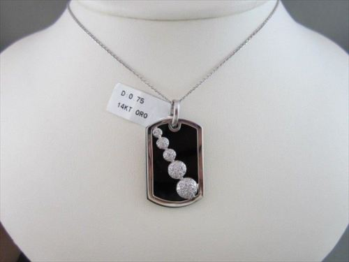 ANTIQUE 14KT BLACK ONYX & DIAMOND JOURNEY WHITE GOLD PENDENT AMAZING!!!!!!!!!!!!
