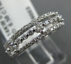ESTATE .50CT DIAMOND 14K WHITE GOLD 3D THREE ROW ETOILE WEDDING ANNIVERSARY RING