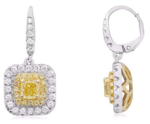 LARGE 2.49CT WHITE & FANCY YELLOW DIAMOND 18KT 2 TONE GOLD 3D LEVERBACK EARRINGS