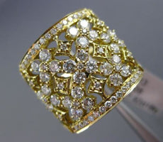 ESTATE LARGE 1.92CT DIAMOND 18KT YELLOW GOLD OPEN FILIGREE FLOWER COCKTAIL RING