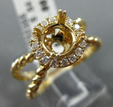 WIDE .22CT DIAMOND 14K YELLOW GOLD ROPE HALO FILIGREE SEMI MOUNT ENGAGEMENT RING