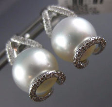 LARGE .40CT DIAMOND & AAA SOUTH SEA PEARL 18K WHITE GOLD TEAR DROP STUD EARRINGS