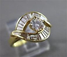 ESTATE 1.28CT DIAMOND 14KT YELLOW GOLD SOLITAIRE INFINITY ENGAGEMENT RING #750