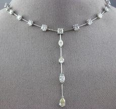 ESTATE 15.34CT DIAMOND 18KT WHITE GOLD 3D DIAMOND BY THE YARD LARIAT NECKLACE
