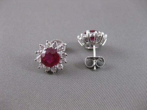 ANTIQUE 2.96CTW DIAMOND RUBY 14KT WHITE GOLD ROUND CLUSTER EARRINGS 11MM #20273