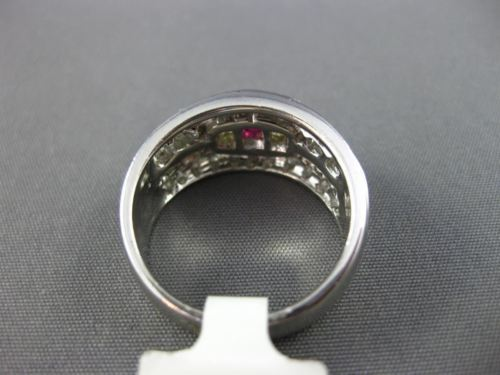 WIDE 1.52CT WHITE FANCY YELLOW DIAMOND & RUBY 14KT WHITE GOLD MENS PINKIE RING