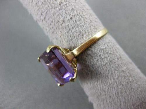 ANTIQUE LARGE 14CT AAA EMERALD CUT AMETHYST 14K YELLOW GOLD SOLITAIRE RING 21473