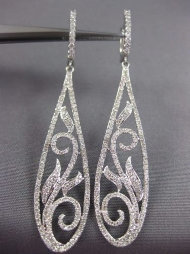 LONG 1.47CT DIAMOND 18KT WHITE GOLD FILIGREE FLOWER LEVER BACK HANGING EARRINGS