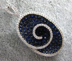 LARGE 3.06CT DIAMOND & AAA SAPPHIRE 18KT WHITE GOLD OVAL SWIRL FLOATING PENDANT