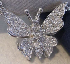 "ANTIQUE LARGE 1.30CTW DIAMOND 14KT WHITE GOLD BUTTERFLY NECKLACE 15.50"" #19728"