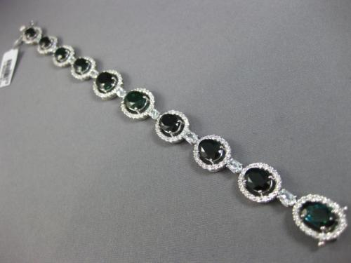 WIDE 21.17CT DIAMOND AQUAMARINE & TOURMALINE 18KT WHITE GOLD 3D TENNIS BRACELET