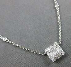 ESTATE .53CT ROUND & BAGUETTE DIAMOND 18K WHITE GOLD SQUARE BY THE YARD NECKLACE