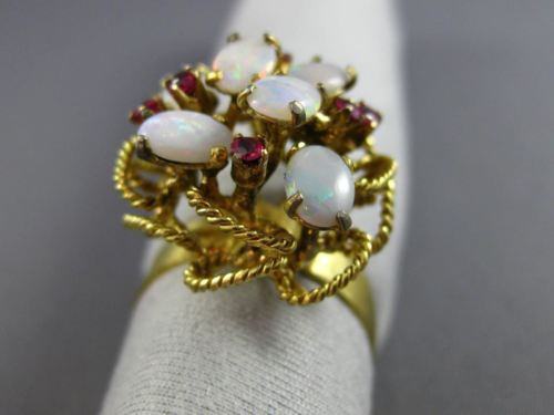 ANTIQUE LARGE .18CT AAA AUSTRALIAN OPAL & RUBY 14KT YELLOW GOLD 3D FLOWER RING