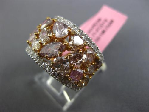 GIA LARGE 5.11CT MULTI COLOR DIAMOND 18K 2 TONE GOLD 3D CLUSTER ANNIVERSARY RING