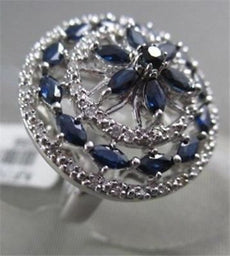 ANTIQUE WIDE FILIGREE 14KT 2.25CTW G VS DIAMOND & AAA BLUE SAPPHIRE RING AMAZING
