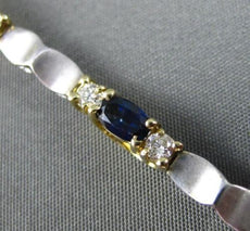 ESTATE 3.50CT DIAMOND & SAPPHIRE 14KT TWO TONE GOLD BY THE YARD TENNIS BRACELET