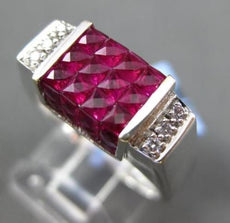 ESTATE 3.17CT DIAMOND & AAA RUBY 18K WHITE GOLD 3D SQUARE PRINCESS CUT MENS RING
