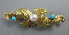 ANTIQUE 14K YELLOW GOLD ROMAN PEARL & SAPPHIRE HANDCRAFTED FILIGREE BROOCH 22544