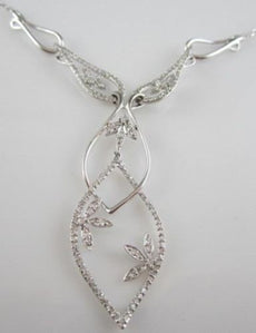 ANTIQUE DROP 1.0CTW 18KT WHITE GOLD BUTTERFLY DIAMOND NECKLACE JUST BEAUTIFUL!!